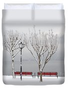 Bench On Lakefront In Winter Duvet Cover