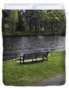 Bench On Shore Of River Ness In Inverness Duvet Cover