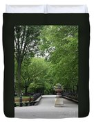 Bench Rows In Central Park  Nyc Duvet Cover
