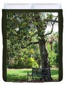 Bench Under The Magnolia Tree Duvet Cover