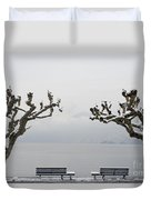 Benches And A Trees Duvet Cover