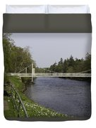 Benches And Suspension Bridge Over River Ness Duvet Cover