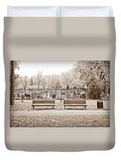 Benches By The Cemetery In Sepia Duvet Cover