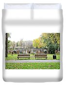Benches By The Cemetery Duvet Cover