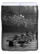 Benches In The Rain Bw Duvet Cover