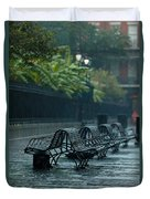 Benches In The Rain Duvet Cover