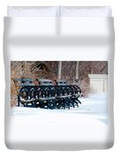 Benches In The Snow Duvet Cover