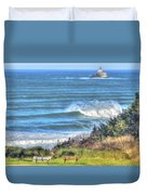 Benches On The Beach Duvet Cover