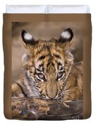 Bengal Tiger Cub And Peacock Feather Endangered Species Wildlife Rescue Duvet Cover