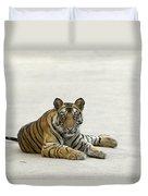 Bengal Tiger Cub On Road Bandhavgarh Np Duvet Cover