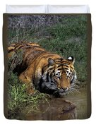 Bengal Tiger Drinking At Pond Endangered Species Wildlife Rescue Duvet Cover