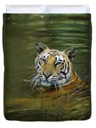 Bengal Tiger In Water Native To India Duvet Cover