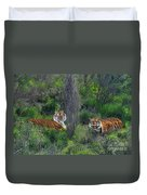 Bengal Tigers On Grassy Hillside Endangered Species Wildlife Rescue Duvet Cover