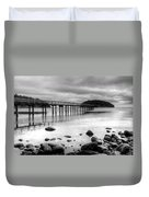 Bennet Bay Pier Black And White Duvet Cover