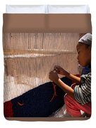 Berber Girl Working On Traditional Berber Rug Ait Benhaddou Southern Morocco Duvet Cover
