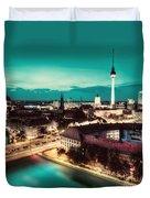 Berlin Germany Major Landmarks At Night Duvet Cover