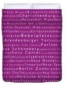 Berlin In Words Pink Duvet Cover