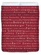 Berlin In Words Red Duvet Cover