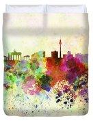 Berlin Skyline In Watercolor Background Duvet Cover