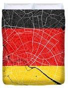 Berlin Street Map - Berlin Germany Road Map Art On German Flag Background Duvet Cover