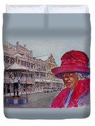 Bermuda Lady In Red And Cop Duvet Cover