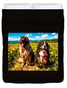 Bernese Mountain Dog And Leonberger Among Wildflowers Duvet Cover