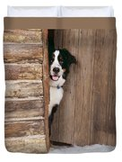 Bernese Mountain Dog At Log Cabin Door Duvet Cover