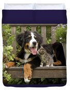 Bernese Mountain Puppy & Kitten Duvet Cover