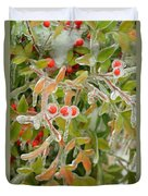 Winter Berries On Ice Duvet Cover