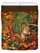 Berry Loving Squirrel Duvet Cover