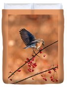 Berry Picking Bluebird Duvet Cover