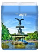 Bethesda Fountain At Central Park Duvet Cover