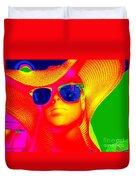 Betsy In Blue Sunglasses Duvet Cover