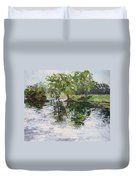Bevier Park In The Rain Duvet Cover