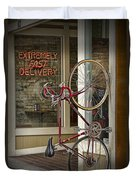 Bicycle Attached To Wall Outside Of Fast Food Restaurant Duvet Cover