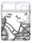 Bicycle Baloons Duvet Cover by MGL Meiklejohn Graphics Licensing