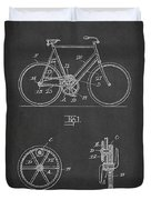 Bicycle Gear Patent Drawing From 1922 - Dark Duvet Cover