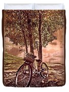 Bicycle In The Park Duvet Cover