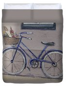 Bicycle Leaning On A Wall Duvet Cover