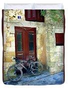 Bicycle Of Santorini Duvet Cover