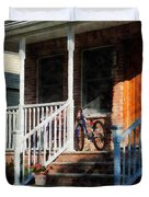 Bicycle On Porch Duvet Cover