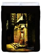 Bicycle On The Streets Of Beijing At Night Duvet Cover