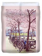 Bicycles Under The Blooming Trees. Pink Spring In Amsterdam  Duvet Cover