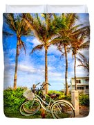 Bicycles Under The Palms Duvet Cover