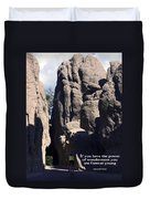 Bicyclist And Granite Spires Duvet Cover