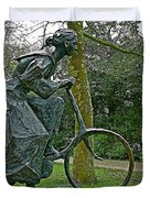 Bicyclist Sculpture In The Park In Leeuwarden-netherlands Duvet Cover