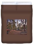 Bienville Spring With Benches Duvet Cover