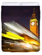 Big Ben And A Bus Trail Duvet Cover