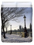 Big Ben Westminster Abbey And Houses Of Parliament In The Snow Duvet Cover