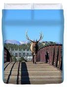 Big Bull On The Bridge Duvet Cover